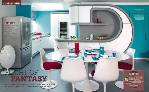 Space-age design using Corian