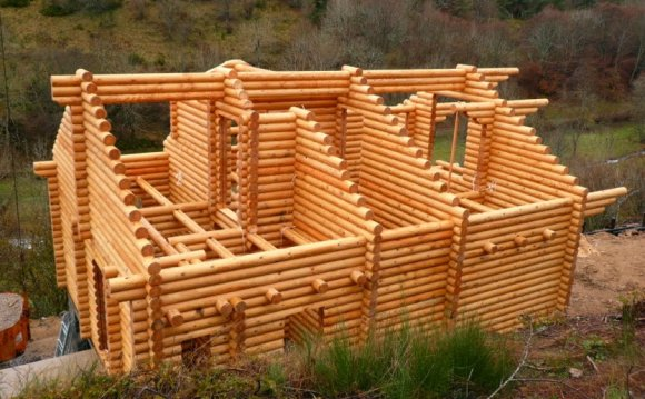Wooden house construction from