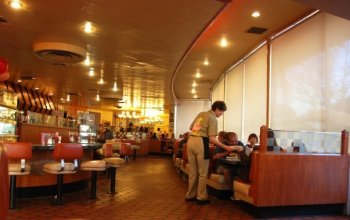 4.Bob's Big Boy, Burbank, CA. 1949, interior. Wayne McAllister, architect. The interior, with its curving glass wall looking out on the commercial strip, remains intact.