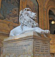 Boston Public Library - Lion on Staircase