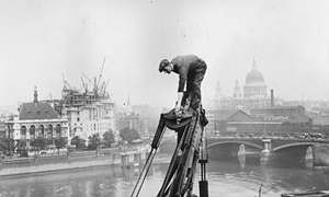 Construction on the Thames in London, 1929.