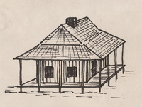 Drawing of a French Colonial style house.