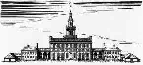 Drawing of the State House from about 1776 showing wing buildings and adjoining wooden sheds.