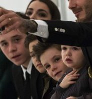 Family: David Beckham  takes a selfie of himself and his children (L-R) Brooklyn Beckham, Romeo Beckham, Cruz Beckham and Harper Beckham, before Victoria's event at New York Fashion Week. All the children will have huge amounts of space in the mansion