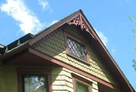 House exterior side gable after painting and restoration