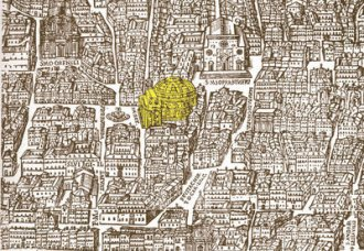 Image: Map — A 1625 map by Giovanni Maggi shows the Pantheon within its environment.