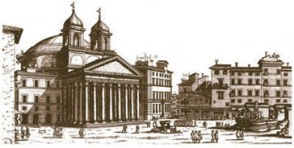 Image: Pantheon – 17th Century — This drawing by Giovanni Battista Falda dates back to the late 17th century. The Pantheon was defined as a temple to all gods. Pope Urban VIII (1623-1644) added the two bell towers designed by Bernini. They were removed in 1833.