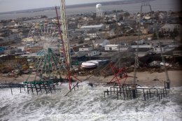 The view from aerial tour of Hurricane Sandy damage of New Jersey's barrier beaches